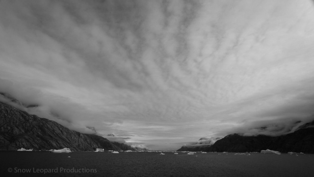 Cloud formation above fjord