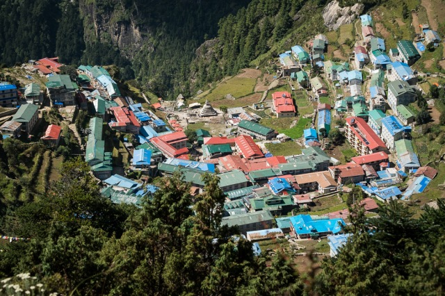 Namche from above, followed by a very steep descent